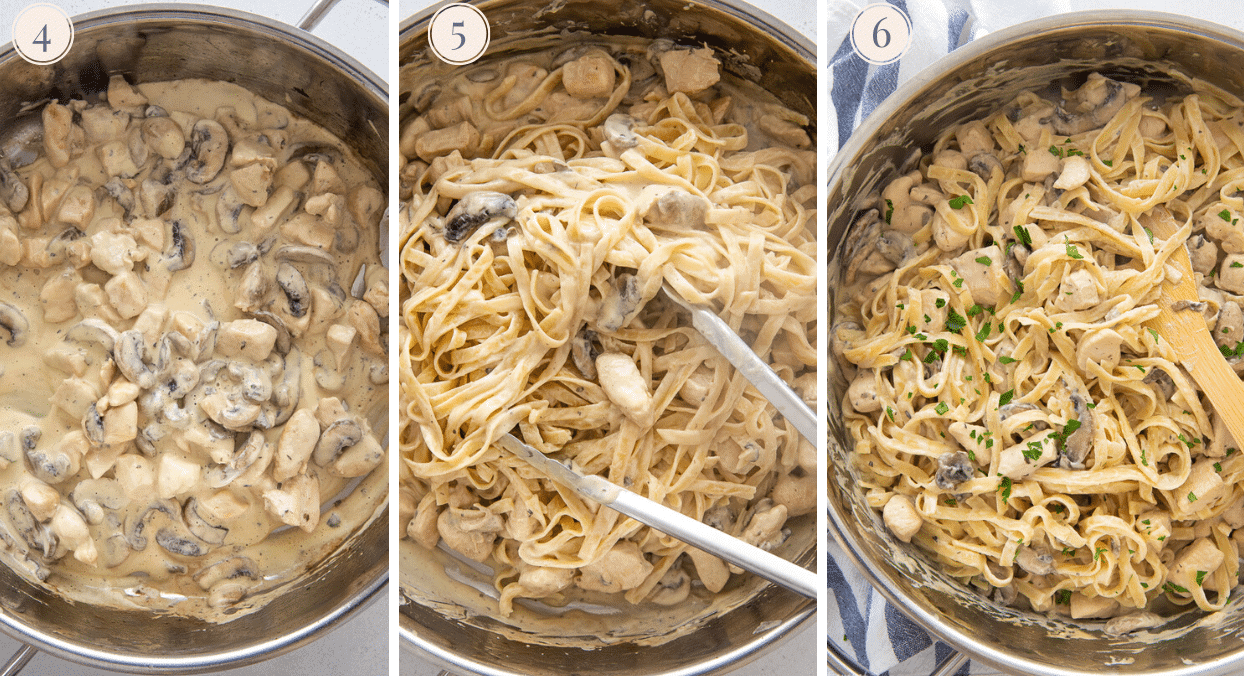a picture collage demonstrating how to toss cooked fettuccine with dairy-free Mushroom Alfredo Sauce