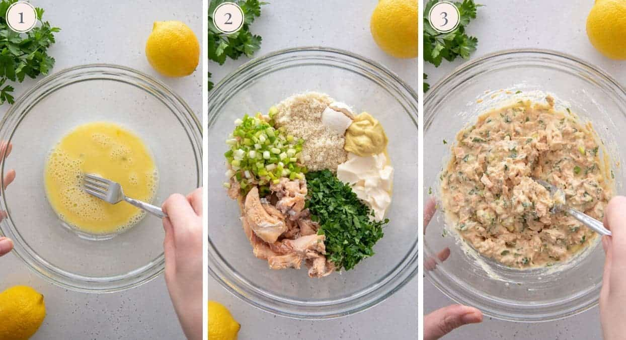 picture collage demonstrating how to make healthy low carb salmon patties