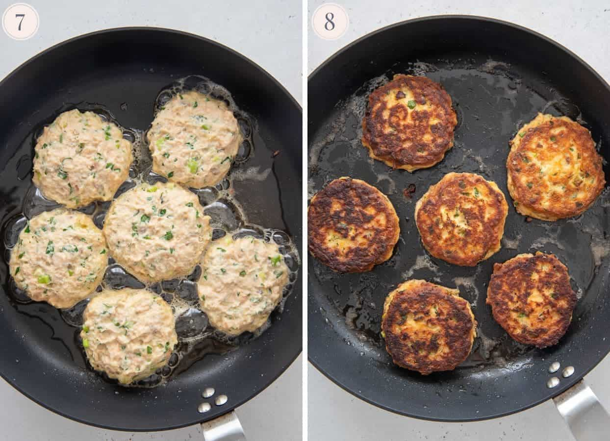 picture collage demonstrating how to fry healthy salmon patties in a skillet