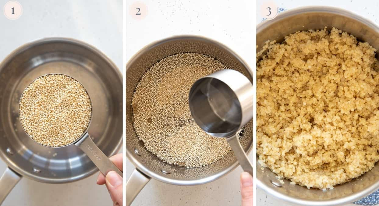 picture collage demonstrating how to cook quinoa perfectly