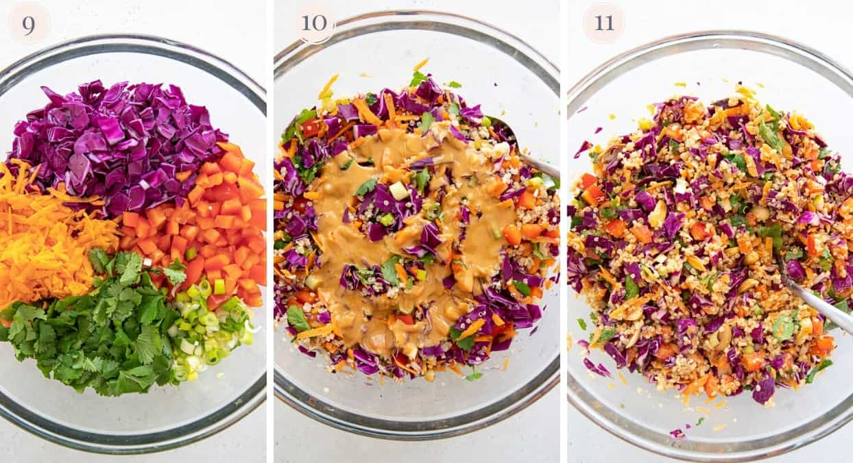 picture collage demonstrating how to mix chopped vegetables, peanut dressing and cooked quinoa for making Asian quinoa salad