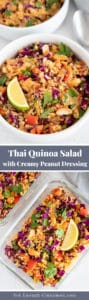 Pinterest Graphic for Asian Quinoa Salad with Creamy Peanut Dressing