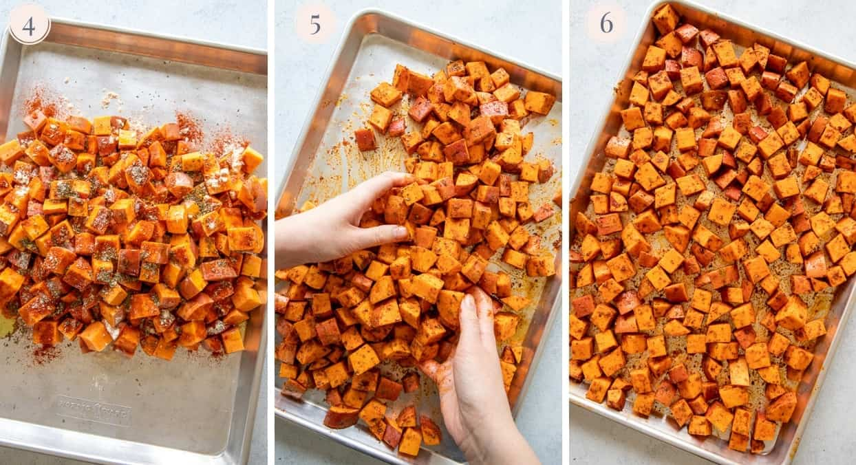a picture collage demonstrating how to roast sweet potatoes on a sheet pan