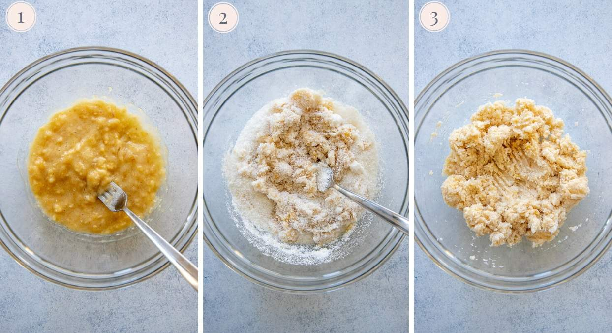 picture collage showing how to mix banana coconut macaroons batter
