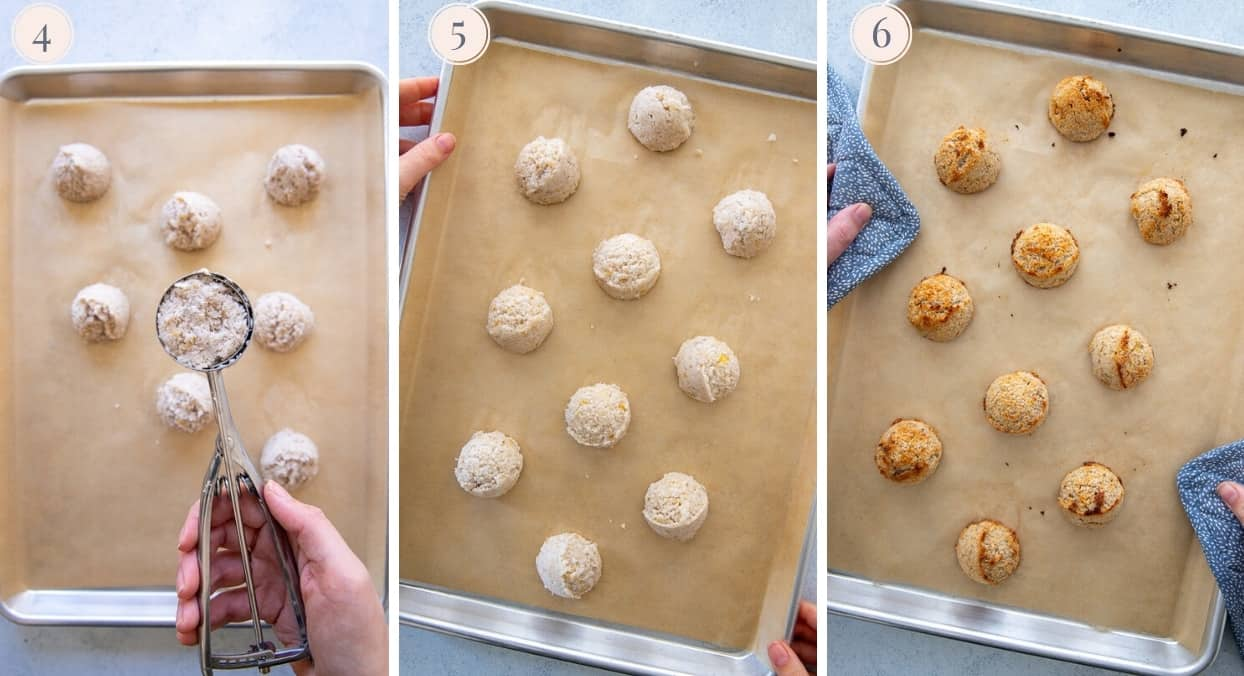 coconut macaroon batter being shaped into balls and placed on a baking sheet