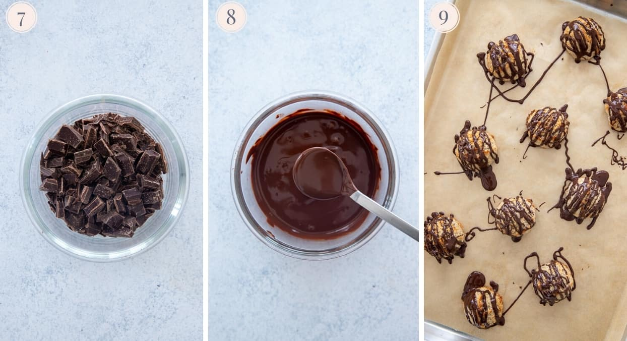 dark chocolate being melted and drizzled on top of healthy coconut macaroons
