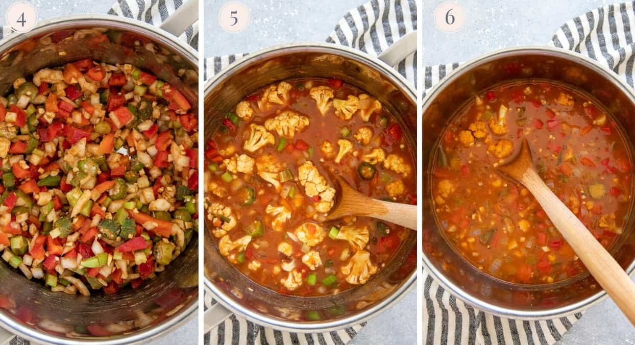 picture gallery of vegan gumbo being prepared in a silver saucepan