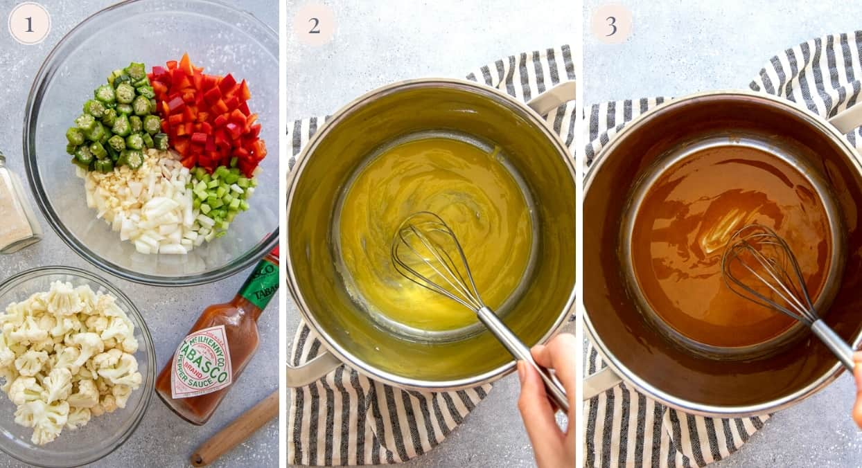 picture gallery demonstrating how to make the perfect roux for vegan gumbo