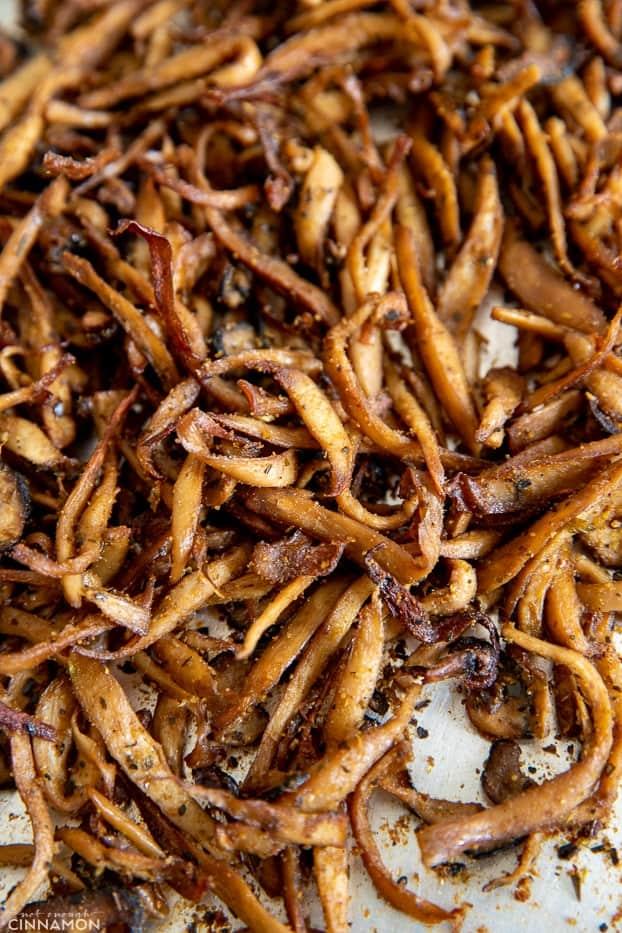 baked vegan mushroom carnitas on a baking sheet