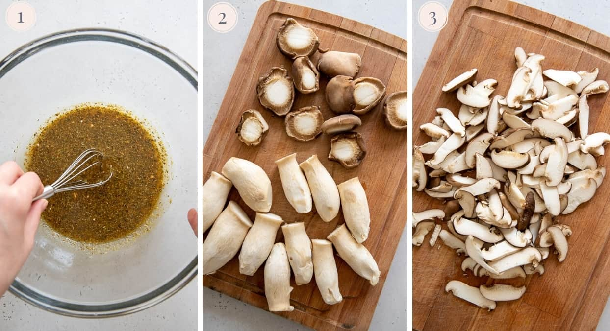 picture collage demonstrating how to chop mushrooms and slice them to make mushroom carnitas