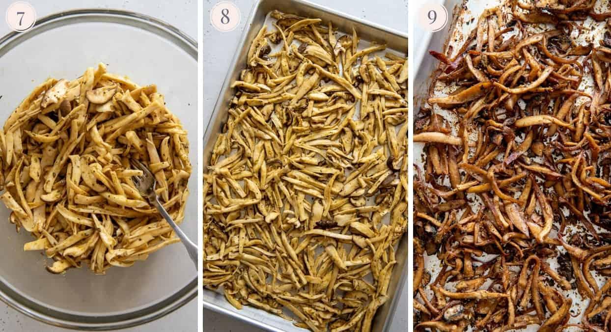 picture collage demonstrating how to marinate and bake mushrooms to make vegan carnitas