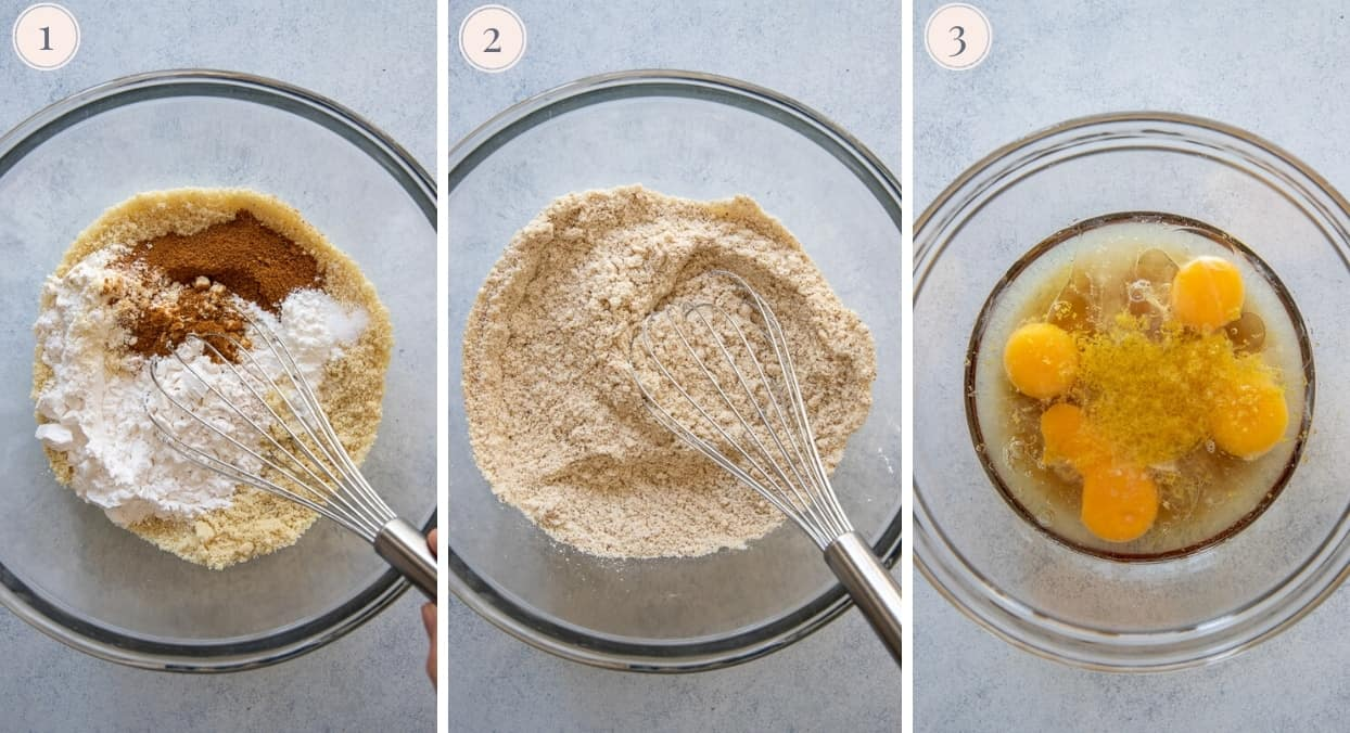 a picture collage demonstrating how to mix dry and wet ingredients for making paleo lemon blueberry bread