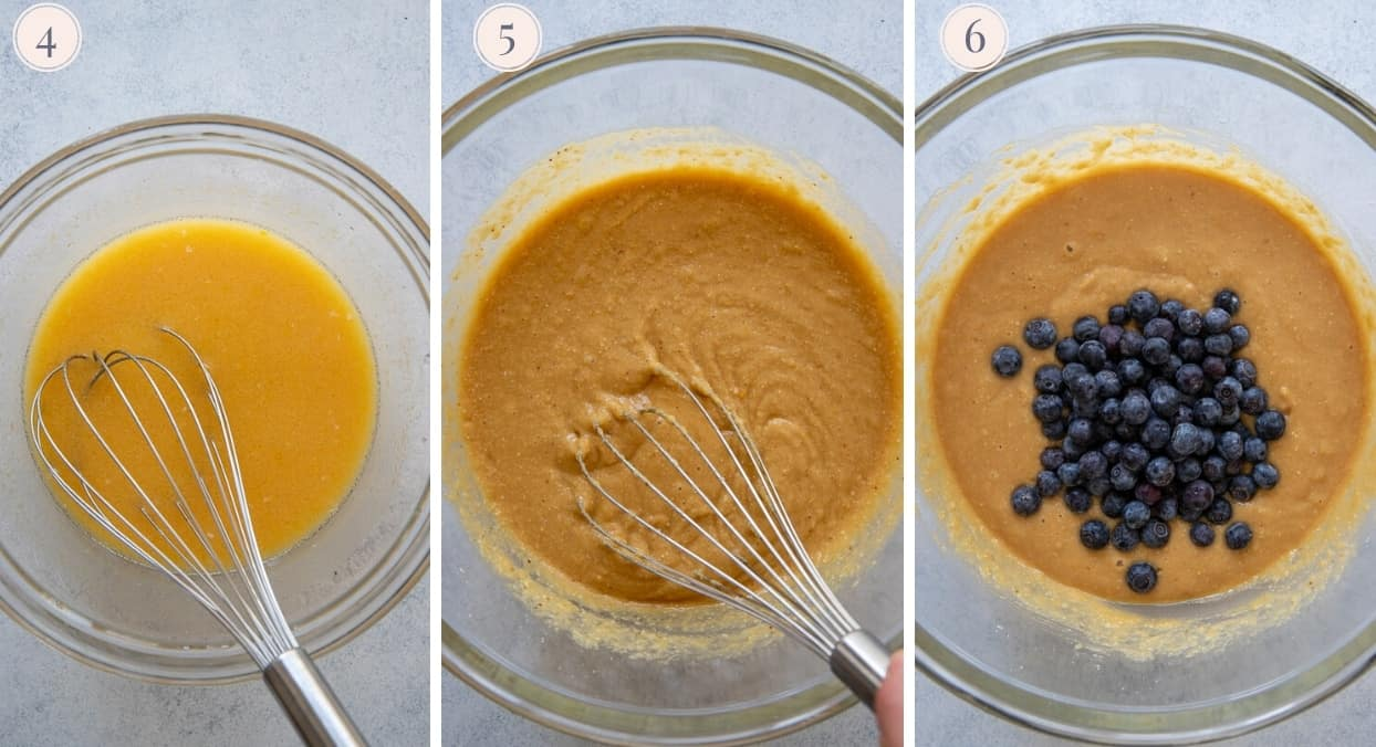 a picture collage demonstrating how to stir blueberries into paleo loaf cake batter