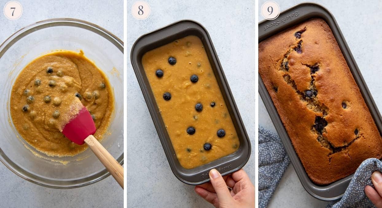 a picture collage demonstrating how to fill paleo blueberry bread batter into a mold pan to make paleo bread