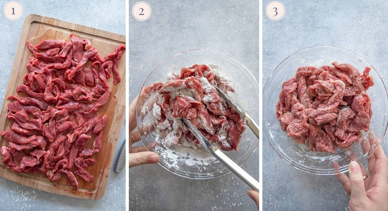picture gallery demonstrating how to cut meat thinly to make Mongolian Beef