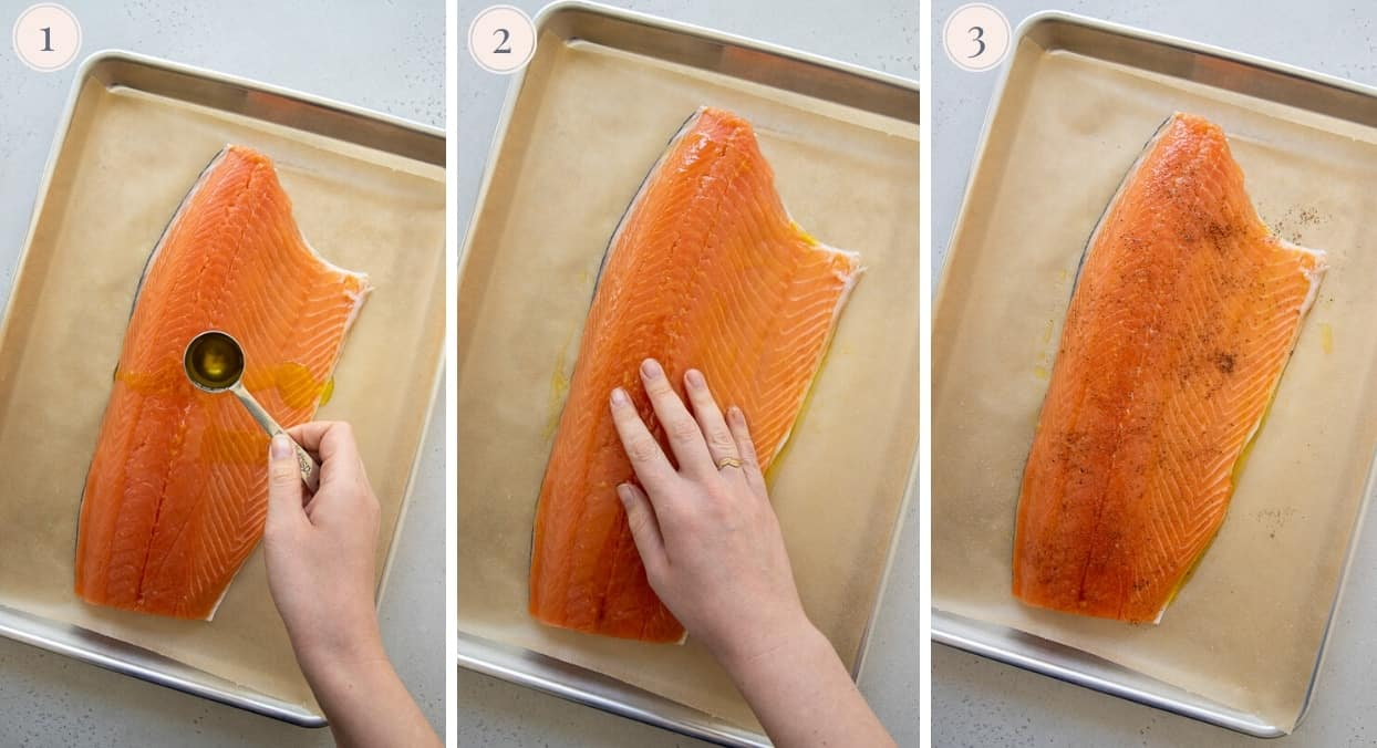 picture gallery demonstrating how to season salmon fillet before baking