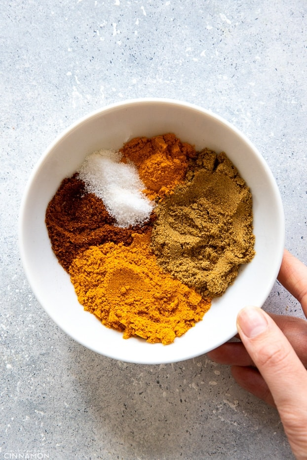 butter chicken spice blend in a small white bowl