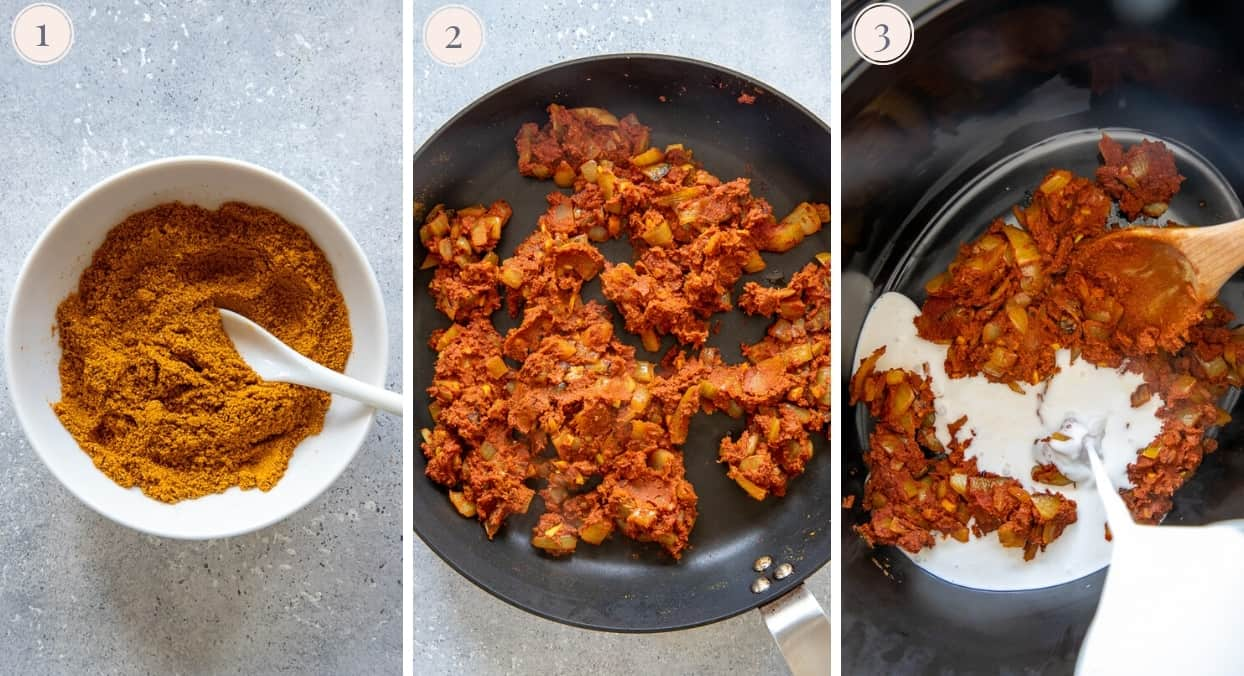 picture collage showing how to make spice blend for butter chicken and how to fry chicken for making butter chicken