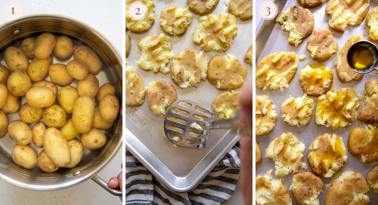 picture gallery demonstrating how to boil and smash potatoes to make smashed potatoes in the oven