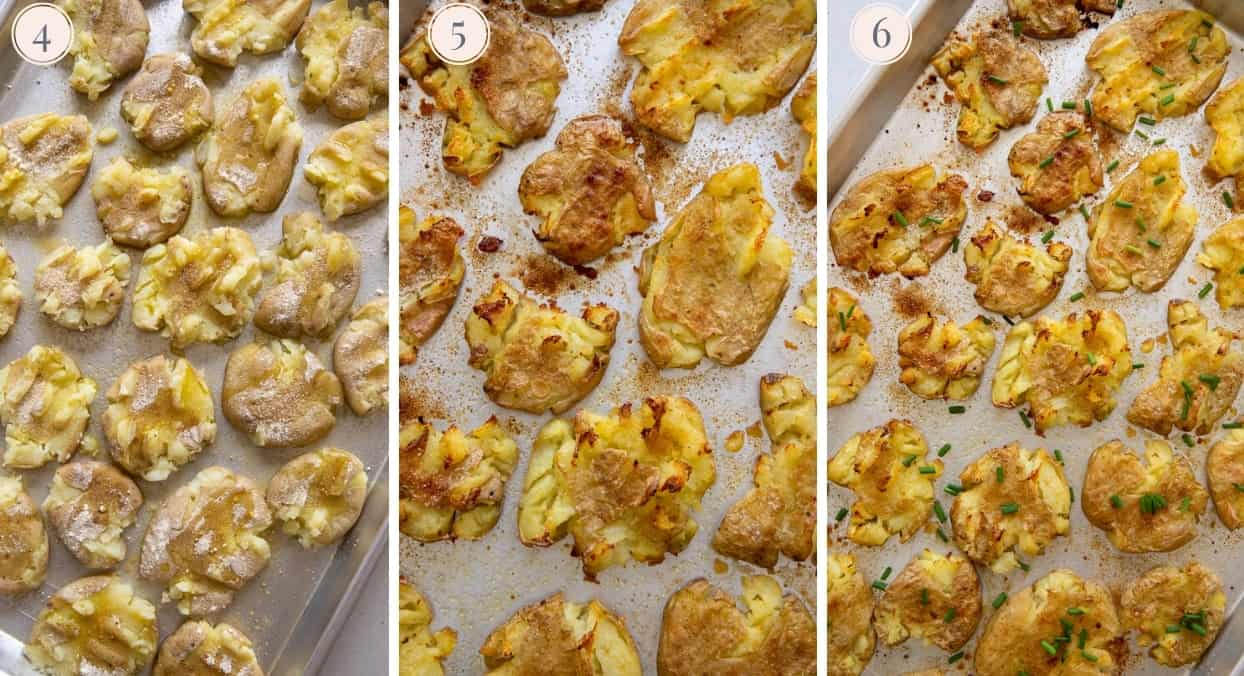 picture gallery demonstrating how to bake smashed potatoes until crispy