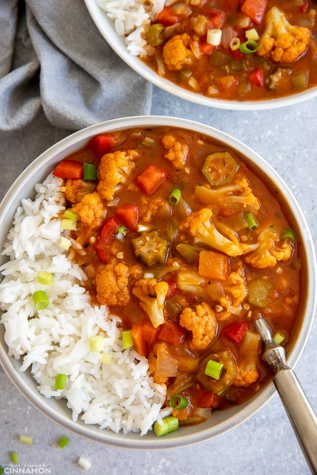 overhead shot of vegan gumbo served with white rice