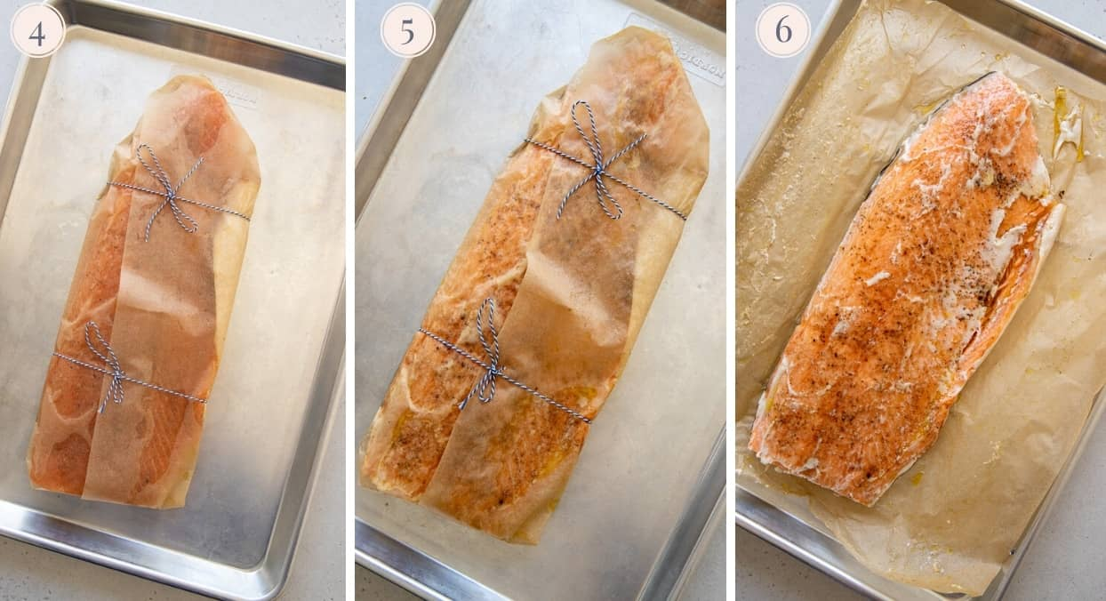 picture collage demonstrating how to wrap and bake Persian spiced salmon in parchment paper