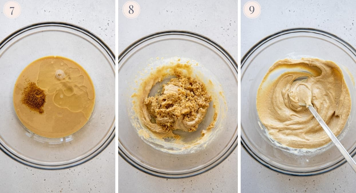 picture collage demonstrating how to make tahini sauce