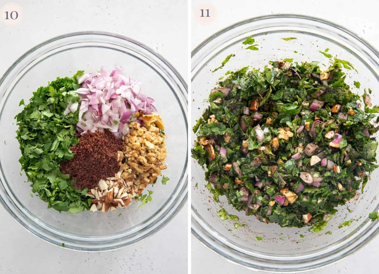 picture collage demonstrating how to mix ingredients for making a herb crust
