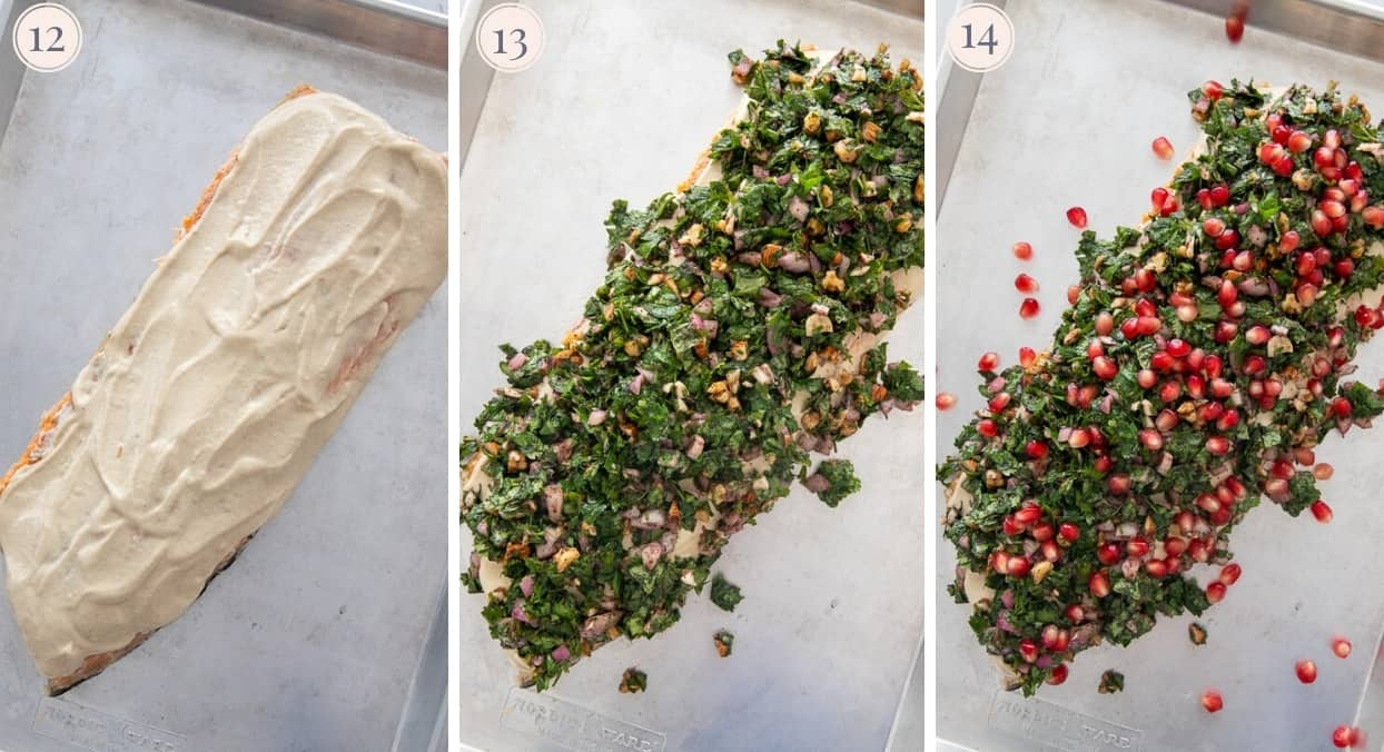picture collage demonstrating how to spread salmon with tahini sauce and top with herb crust before baking