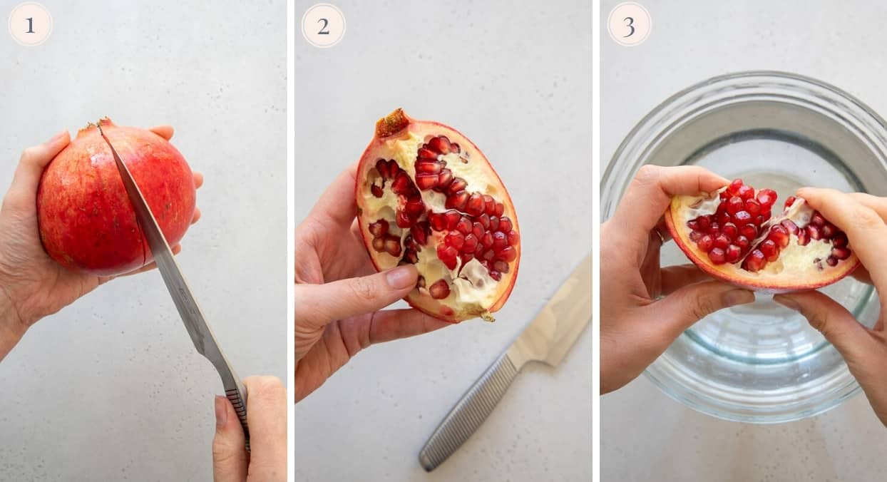 picture collage demonstrating how to cut a pomegranate without mess
