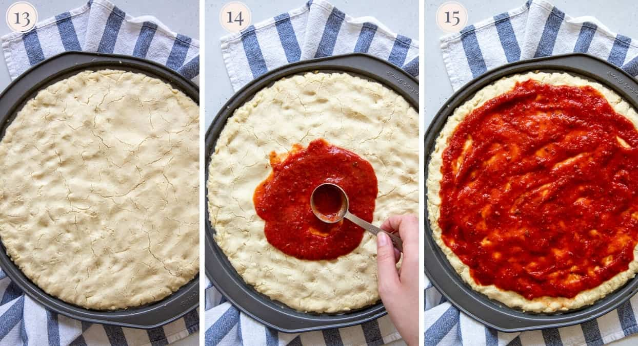 Marinara sauce being spread on top of paleo pizza crust