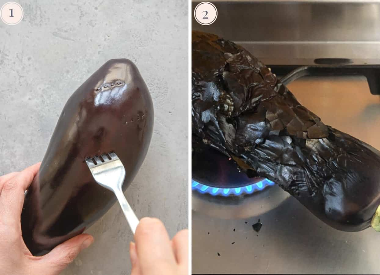 picture collage demonstrating how to roast a whole eggplant over a gas range to make baba ganoush