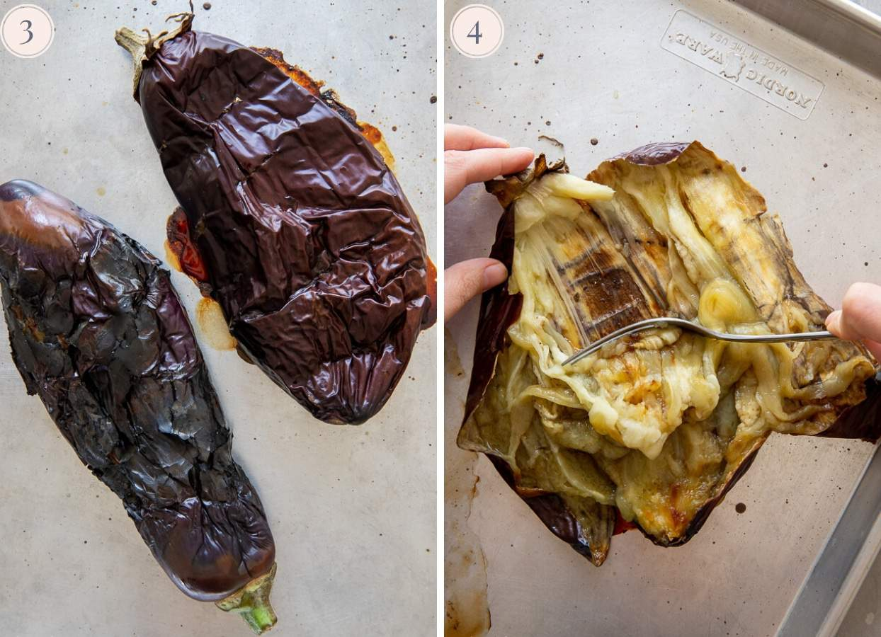 picture collage demonstrating how to scrape meat out of roasted eggplants to make baba ganoush