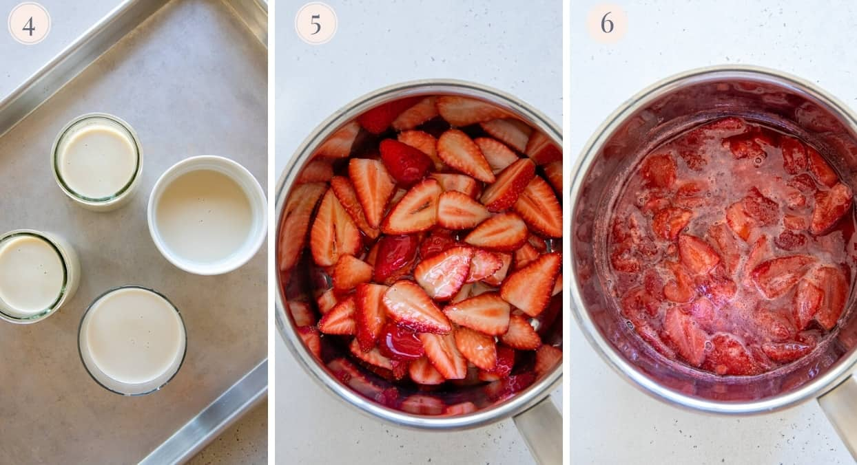 picture collage demonstrating how to make fresh strawberry honey compote as a panna cotta topping