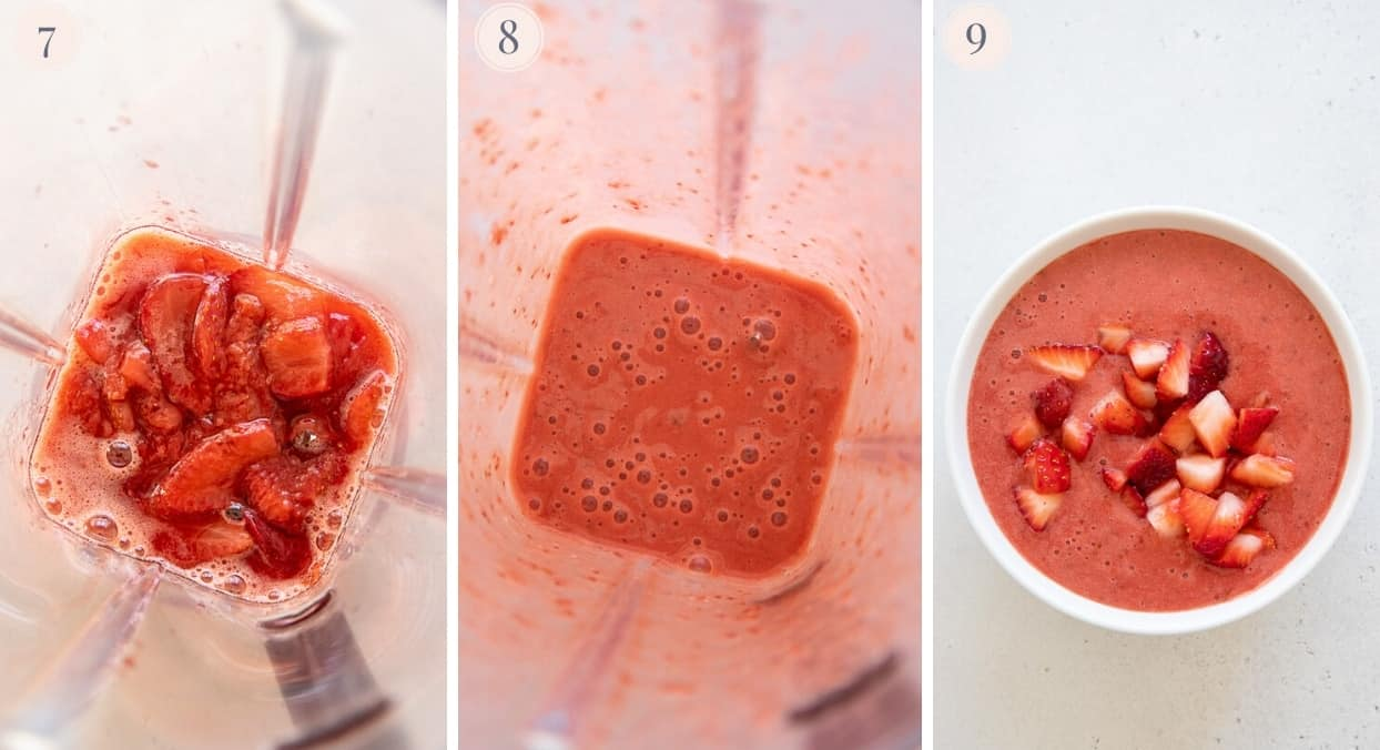 a picture collage demonstrating how to make homemade strawberry compote in a blender