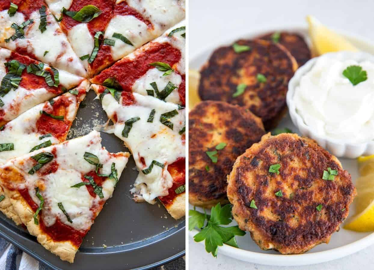gluten-free pizza and salmon patties as examples for kosher seder feast ideas