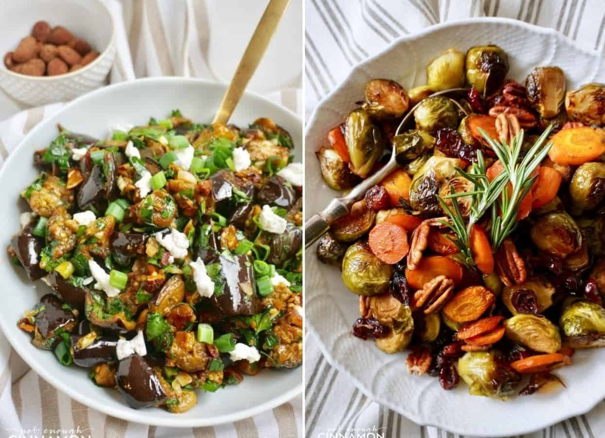 holiday roasted vegetables and warm aubergine salad served as kosher sides for Passover