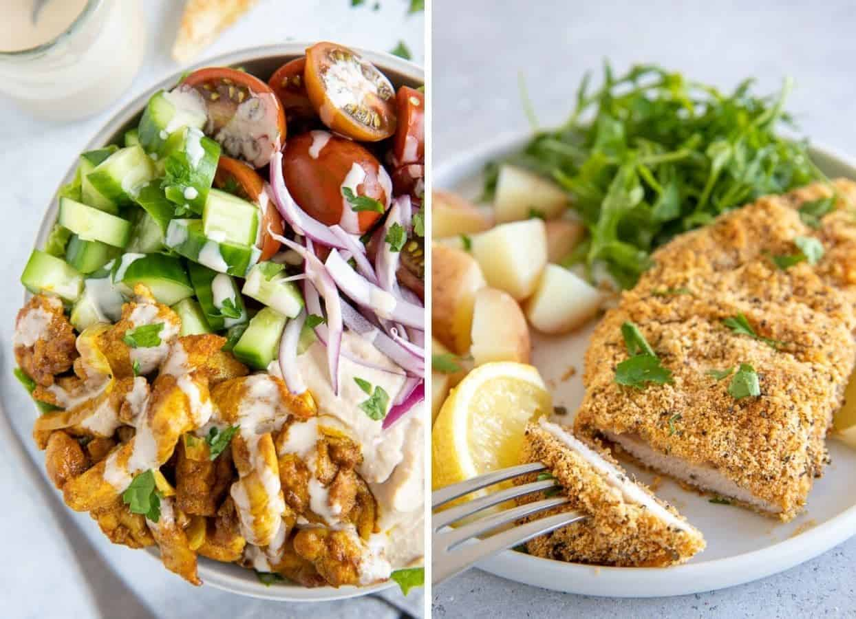 shawarma bowl and almond flour crusted chicken schnitzel served for seder