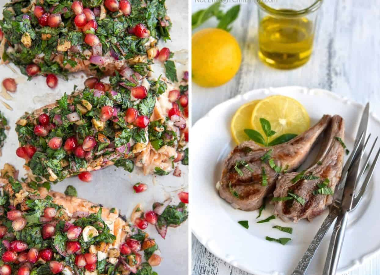 Persian Salmon and Lamb Chops as examples for main kosher meals for passover