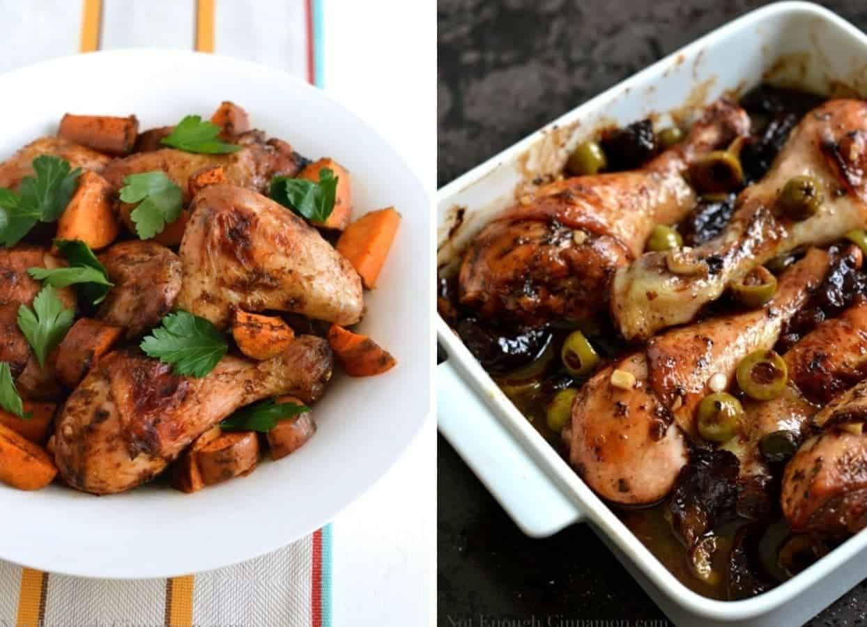 Moroccan Chicken and Chicken Marbella as examples for kosher recipes for passover