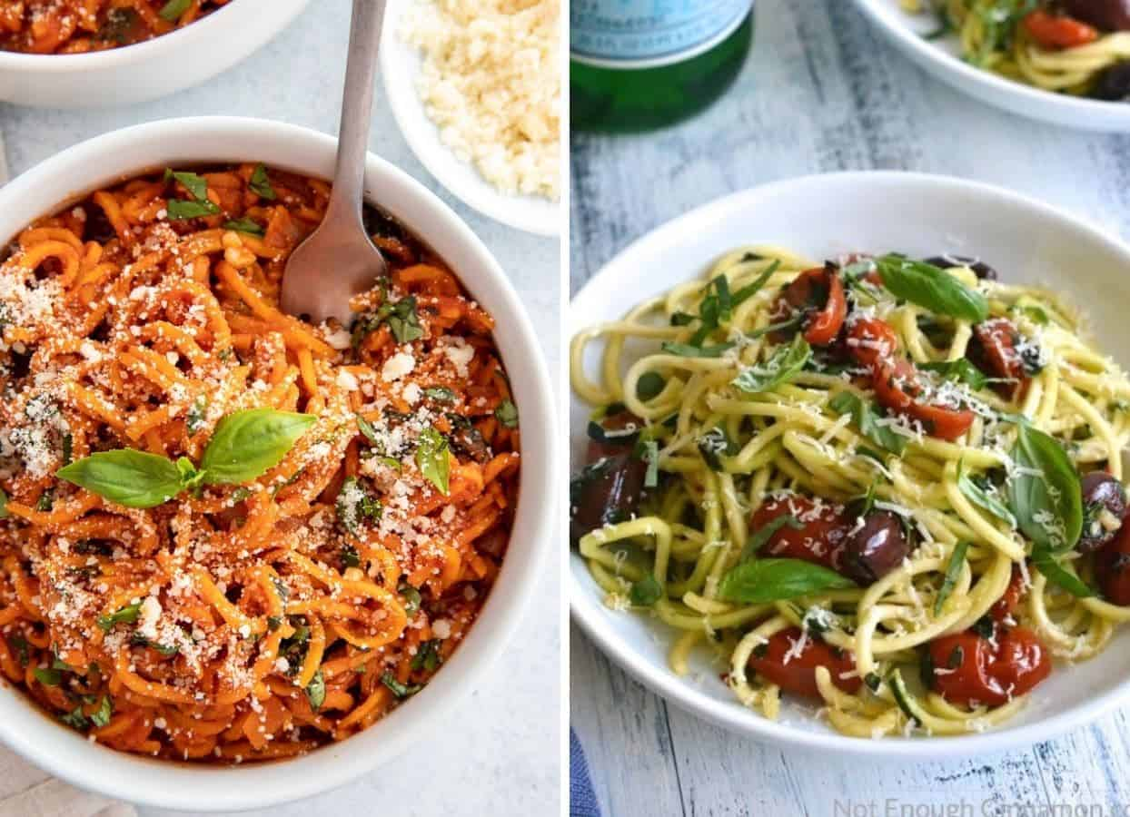sweet potato pasta bowl and a bowl of zucchini noodles as examples for veggie pasta alternatives for passover