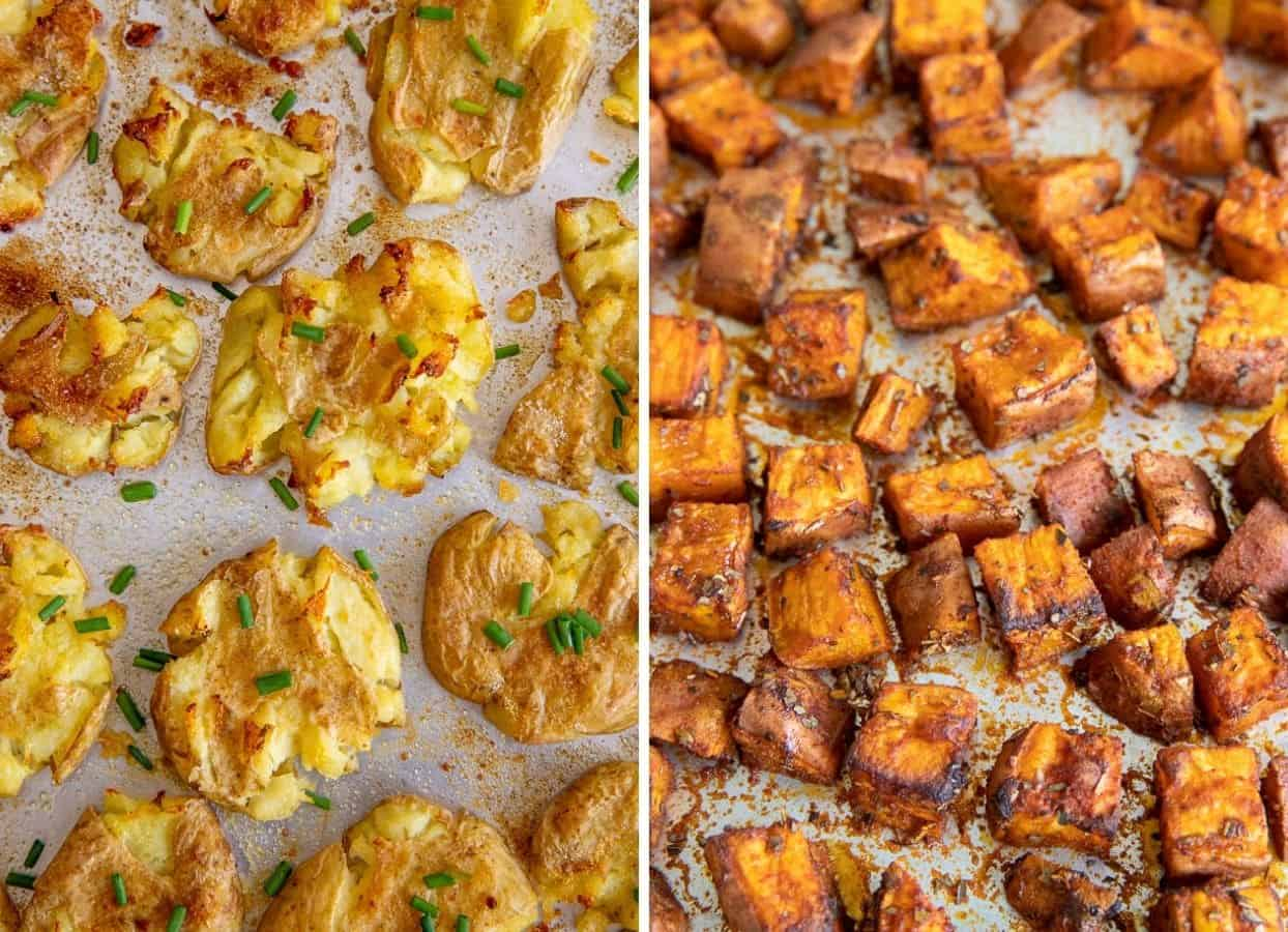 picture collage of smashed potatoes and roasted sweet potatoes served as kosher passover side dishes