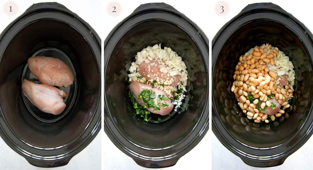 chicken breast in a slow cooker being combined with garlic, herbs, onion and white beans to make white chicken chili recipe