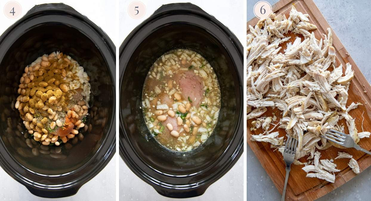 picture collage demonstrating how to cook white chicken chili in a slow cooker