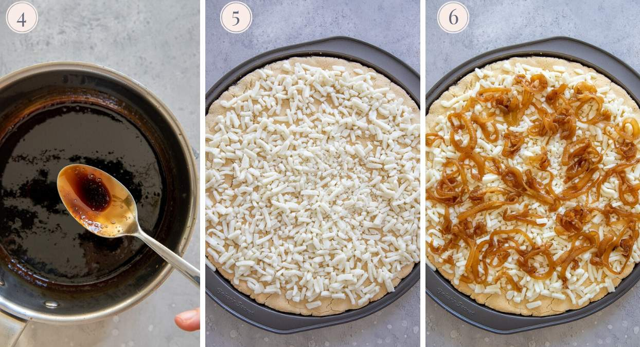 picture collage demonstrating how to top gluten-free pizza crust with goat cheese, caramelized onions and balsamic drizzle