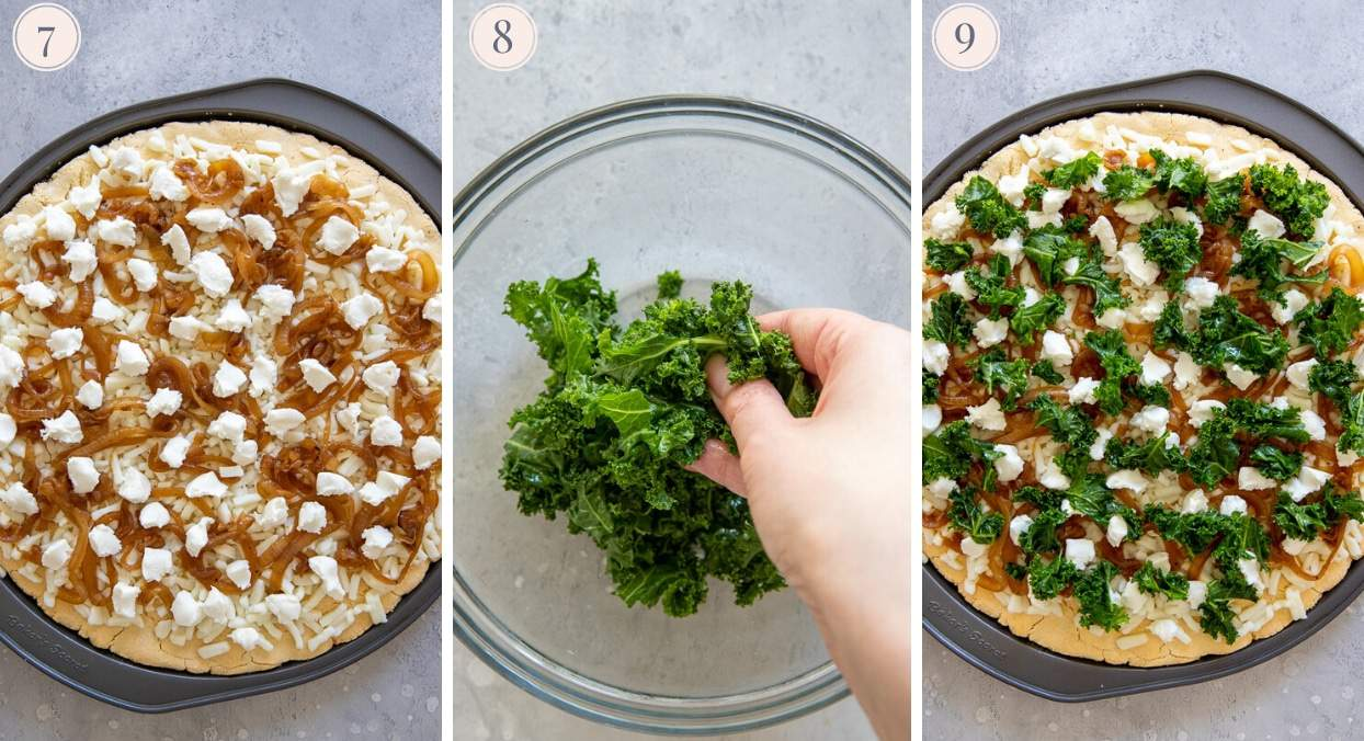 picture collage demonstrating how to top pizza with goat cheese and kale