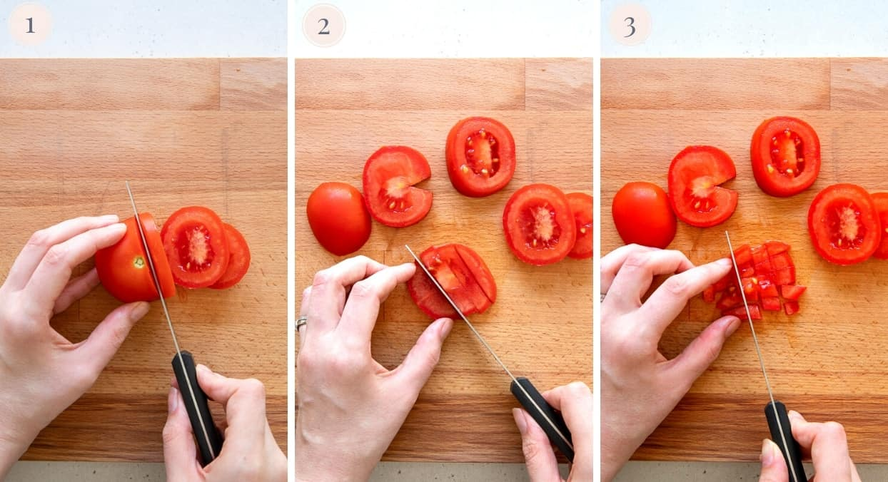 a tomato being chopped into fine cubes to make Israeli Salad