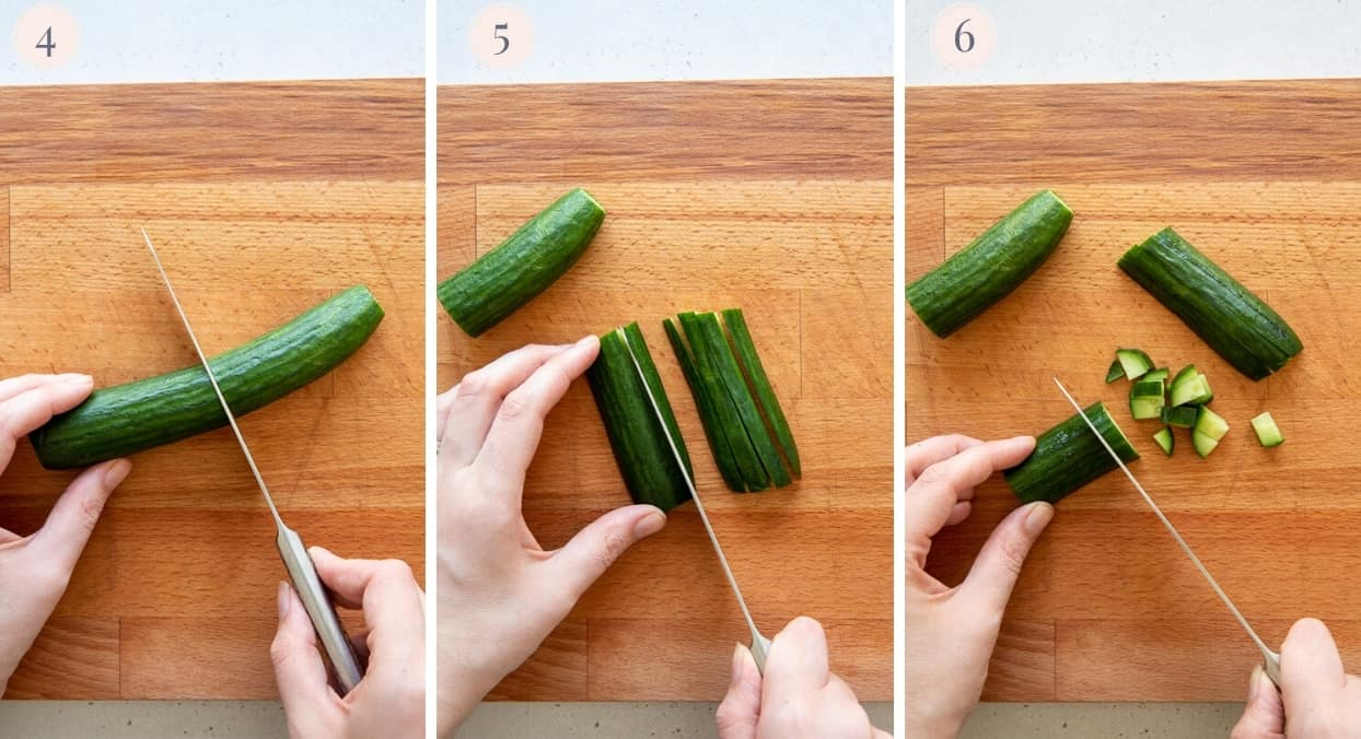 a cucumber being cut into slices, then into fine cubes to make Israeli salad recipe