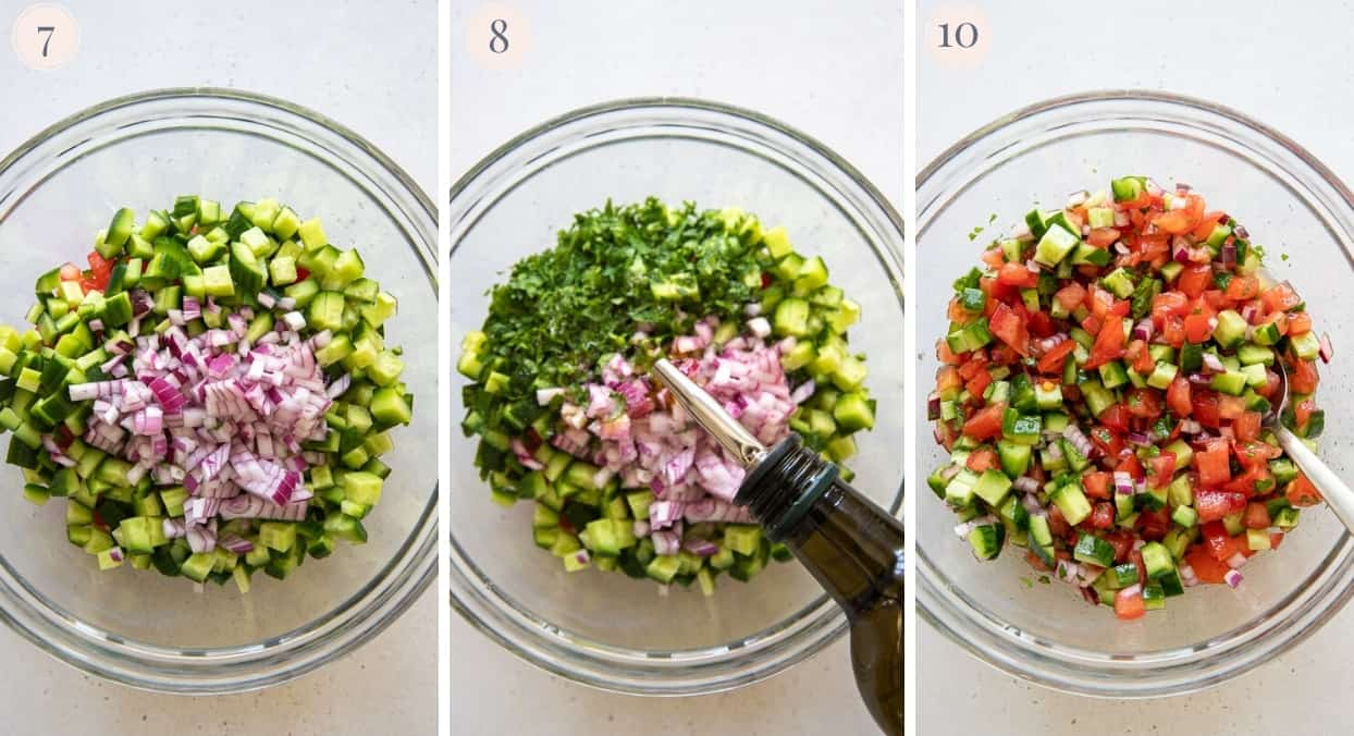 picture collage demonstrating how to make Israeli salad