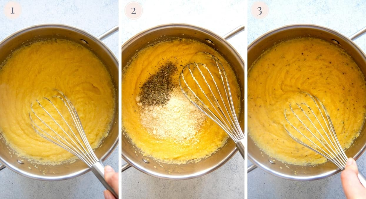 picture collage demonstrating how to make polenta fries batter in a saucepan